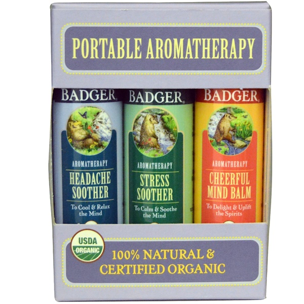 Badger Company, Portable Aromatherapy, Mind Balm Variety Pack, 3 Balms, .60 oz (17 g) Each (Discontinued Item)