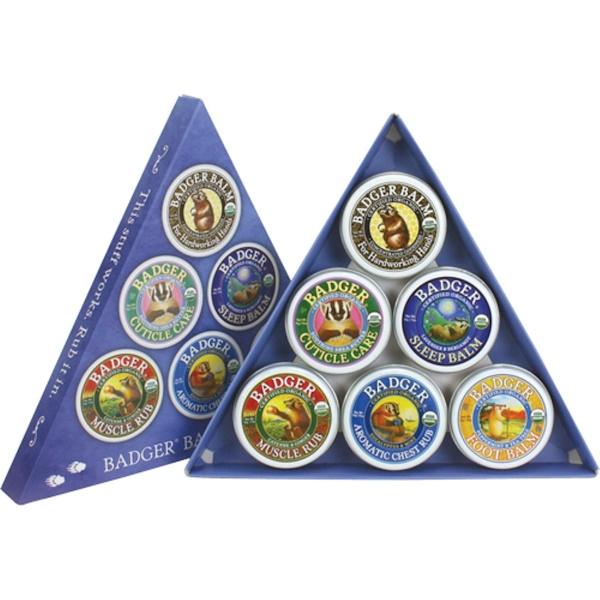 Badger Company, Organic, Badger Balm Sampler, 6 Per Sampler, .75 oz (21 g) Each (Discontinued Item)