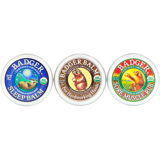 Badger Company, オーガニック, バジャーバームサンプラー, 3パック, 各0.75オンス (21 g)