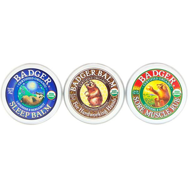 Badger Company, 有機,獾香牌膏樣品,3包集 - 每份、75盎司(21克)