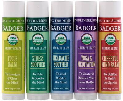 Купить Badger Company Aromatherapy Travel Kit, 5 Pack, .15 oz (4.3 g) Each