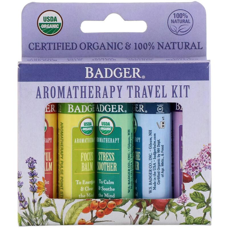 Organic, Aromatherapy Travel Kit, 5 Pack, .15 oz (4.3 g) Each