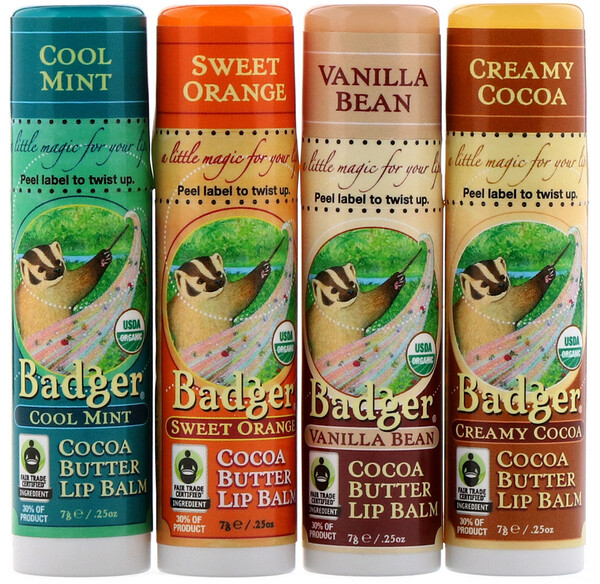 Badger Company, Organic, Cocoa Butter Lip Balms Set, 4 Pack, .25 oz (7 g) Each
