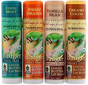 Бадгер компания, Organic, Cocoa Butter Lip Balms Set, 4 Pack, .25 oz (7 g) Each отзывы покупателей