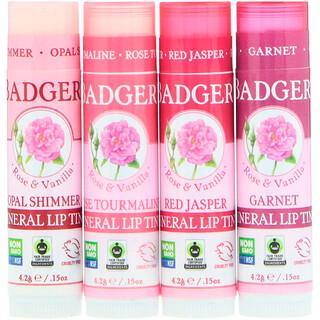 Badger Company, Mineral Lip Tints Set, 4 Pack, .15 oz (4.2 g) Each