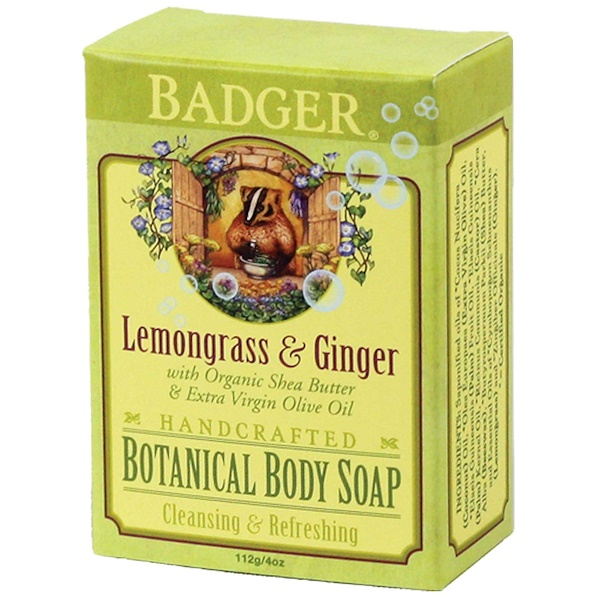 Badger Company, Botanical Body Soap, Lemongrass & Ginger, 4 oz (112 g) (Discontinued Item)