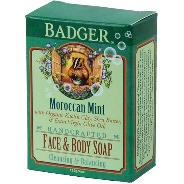 Badger Company, Face & Body Soap, Moroccan Mint, 4 oz (112 g) (Discontinued Item)