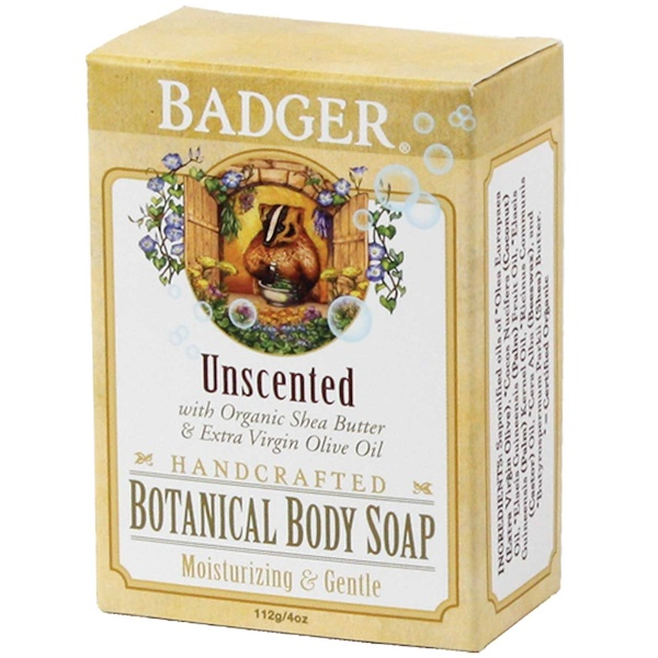 Badger Company, Botanical Body Soap, Unscented, 4 oz (112 g) (Discontinued Item)
