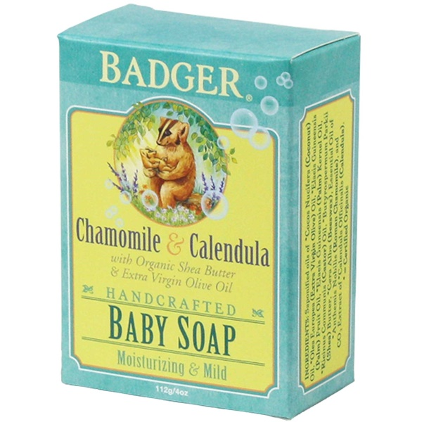 Badger Company, Baby Soap, Chamomile & Calendula, 4 oz (112 g) (Discontinued Item)