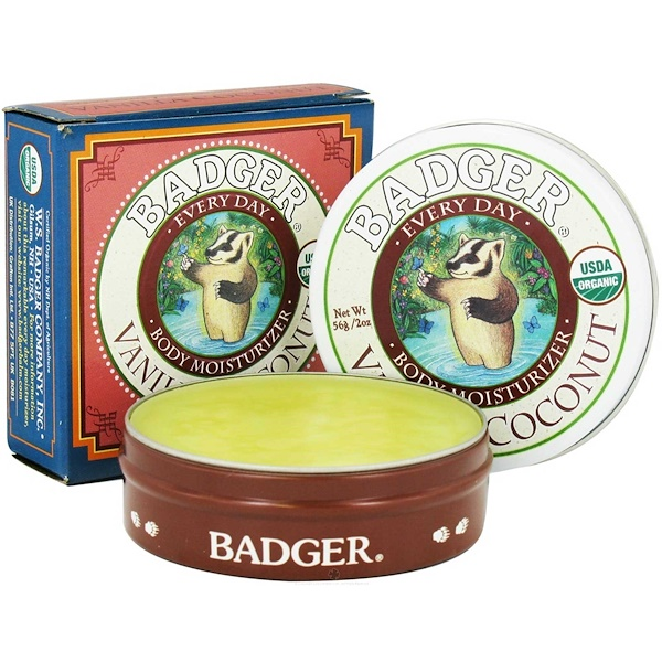 Badger Company, Every Day Body Moisturizer, Vanilla Coconut, 2 oz (56 g) (Discontinued Item)
