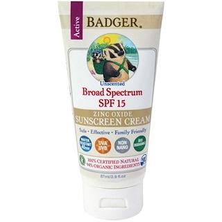 Badger Company, Zinc Oxide Sunscreen Cream, Broad Spectrum SPF 15, Unscented, 2.9 fl oz (87 ml)