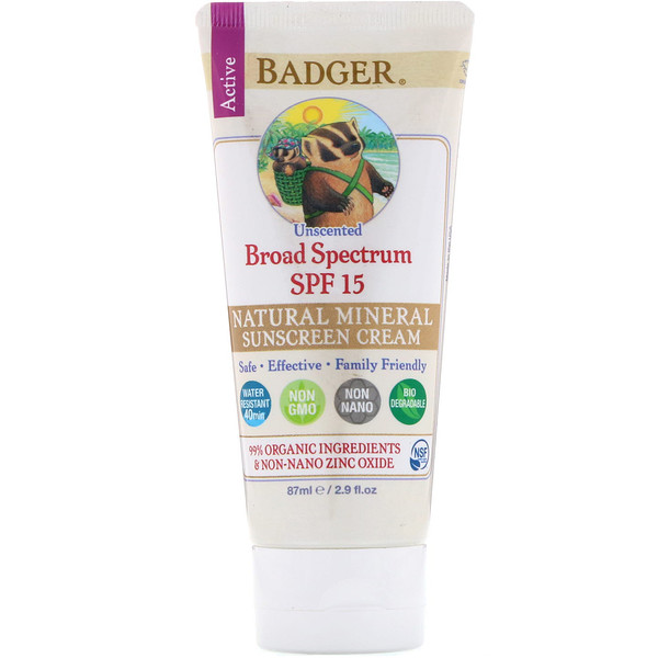 Badger Company, Natural Mineral Sunscreen Cream, Broad Spectrum SPF 15, Unscented, 2.9 fl oz (87 ml) (Discontinued Item)