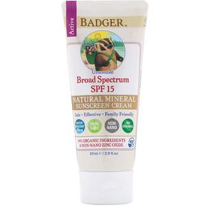 Бадгер компания, Natural Mineral Sunscreen Cream, Broad Spectrum SPF 15, Unscented, 2.9 fl oz (87 ml) отзывы покупателей