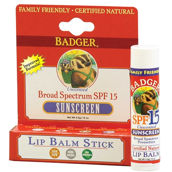 Badger Company, Sunscreen Lip Balm Stick, SPF 15, Unscented, .15 oz (4.2 g) (Discontinued Item)