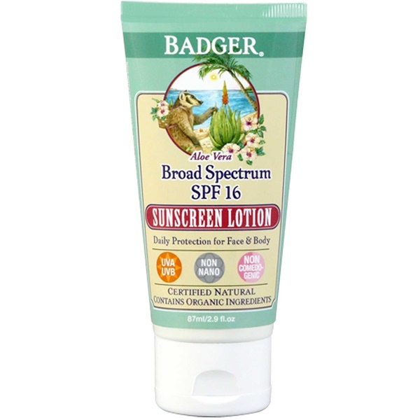 Badger Company, Sunscreen Lotion, Broad Spectrum SPF 16, Aloe Vera, 2.9 fl oz (87 ml) (Discontinued Item)