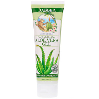 Badger Company, Aloe Vera Gel, Unscented, 4 fl oz (118 ml)