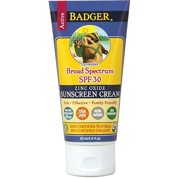 Badger Company, Sunscreen Cream, SPF 30, Lavender, 2.9 fl oz (87 ml) (Discontinued Item)