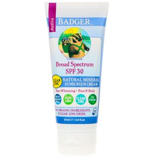 Badger Company, Crème solaire aux minéraux naturels - Zinc transparent - SPF 30 - Inodore - 87 ml