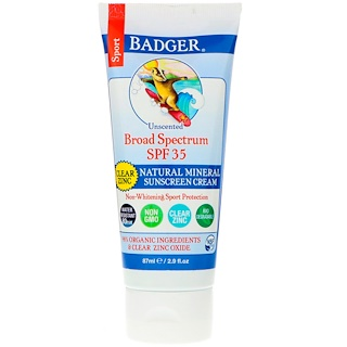 Badger Company, Sport, Natural Mineral Sunscreen Cream, Clear Zinc, SPF 35, Unscented, 2.9 fl oz (87 ml)