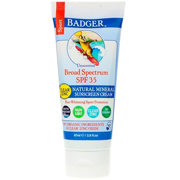 Sport, Natural Mineral Sunscreen Cream, Clear Zinc, SPF 35, Unscented, 2.9 fl oz (87 ml)