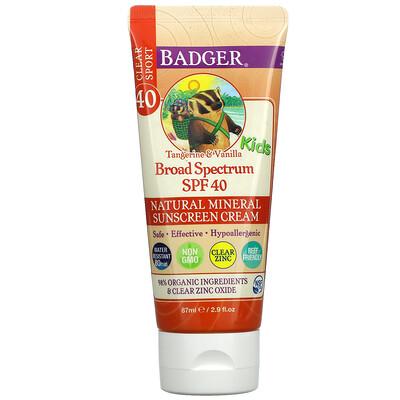 Купить Badger Company Clear Sport, для детей, натуральный минеральный солнцезащитный крем, солнцезащитный фактор SPF 40, мандарин и ваниль, 87 мл (2, 9 жидк. унции)
