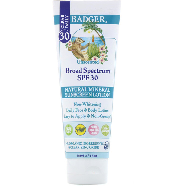 Badger Company, Clear Daily, Natural Mineral Sunscreen Lotion, Clear Zinc, SPF 30, Unscented, 4 fl oz (118 ml)