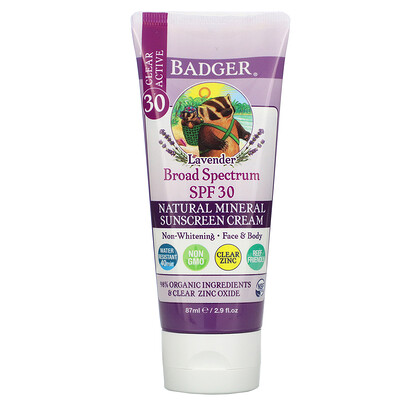 Купить Badger Company Natural Mineral Sunscreen Cream, SPF 30, Lavender, 2.9 fl oz (87 ml)