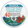 Badger Company, Clear Zinc Sunscreen Cream, SPF40, Unscented, 2.4 oz (68 g)