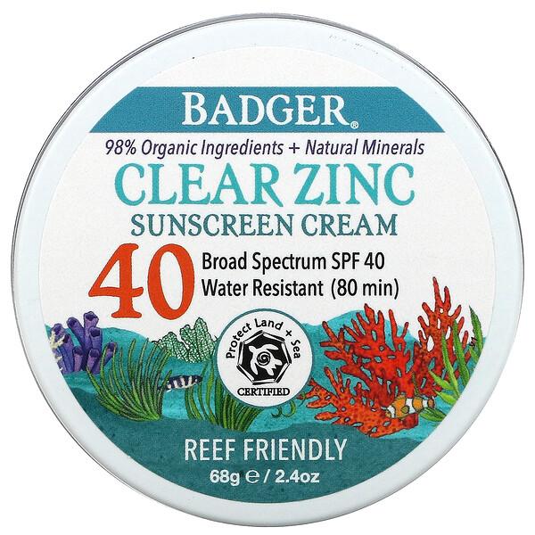 Clear Zinc Sunscreen Cream, SPF40, Unscented, 2.4 oz (68 g)