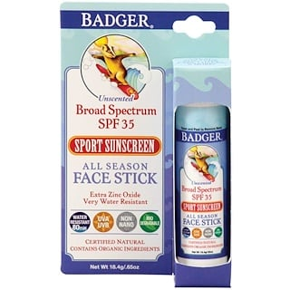 Badger Company, All Season Face Stick, Sport Sunscreen, SPF 35, Unscented, .65 oz (18.4 g)