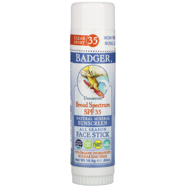 Badger Company, Natural Mineral Sunscreen Face Stick, SPF 35, Unscented, .65 oz (18.4 g)