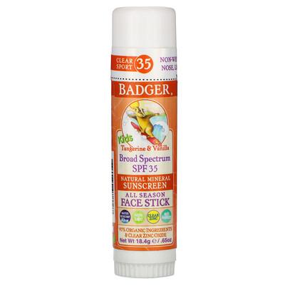 Купить Badger Company Kids, Natural Mineral Sunscreen Face Stick, SPF 35, Tangerine & Vanilla, 0.65 oz (18.4 g)
