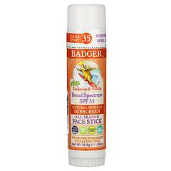 Badger Company, 兒童,天然礦物抗曬霜棒,SPF 35,橘子和香草,0.65 盎司(18.4 克)