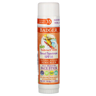 Badger Company, Kids, Natural Mineral Sunscreen Face Stick, SPF 35, Tangerine & Vanilla, 0.65 oz (18.4 g)