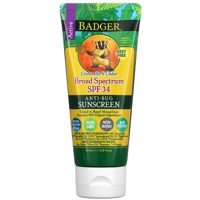 Купить Badger Company солнцезащитный крем против насекомых, SPFт34, цитронелла и кедр, 87мл (2, 9жидк. унций)