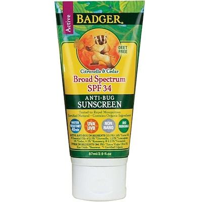 Badger Company 防蚊蟲防曬霜, SPF 34, 2.9液體盎司(87毫升)