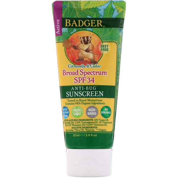 Badger Company, Anti-Bug Sunscreen, Broad Spectrum SPF 34, 2.9 fl oz (87 ml)