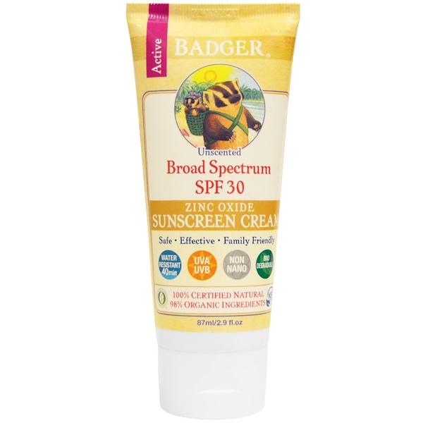Badger Company, 酸化亜鉛日焼け止めクリーム(Zinc Oxide Sunscreen Cream), SPF 30,  無香料, 2.9液量オンス (87 ml)
