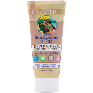 Badger Company, Tinted Mineral Sunscreen Cream, Broad Spectrum SPF 30, Unscented, 2.9 fl oz (87 ml)