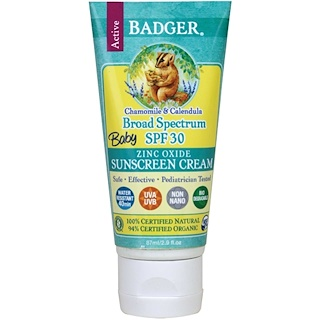 Badger Company, Baby Sunscreen Cream, 광범위 스펙트럼 SPF 30, 카모마일 & 카렌듀라, 2.9 fl oz (87 ml)
