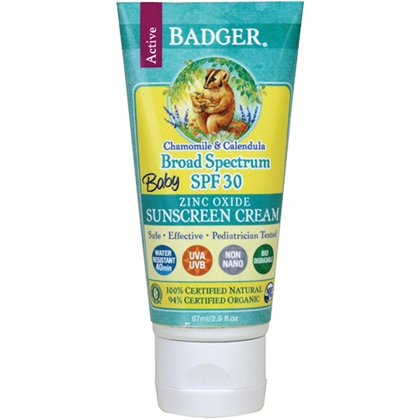 Badger Company, Baby Sunscreen Cream, Broad Spectrum SPF 30, Chamomile & Calendula, 2.9 fl oz (87 ml)