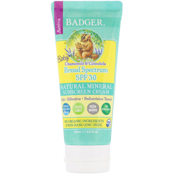 Badger Company, Baby Sunscreen Cream, SPF 30 PA+++, Chamomile & Calendula, 2.9 fl oz (87 ml)