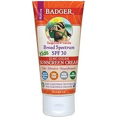 Badger Company, Active Kids, Zinc Oxide Sunscreen Cream, SPF 30, Tangerine & Vanilla, 2.9 fl oz (87 ml)