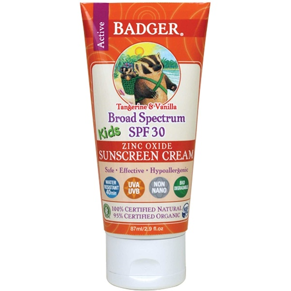 Badger Company, Active Kids, Zinc Oxide Sunscreen Cream, SPF 30, Tangerine & Vanilla, 2.9 fl oz (87 ml)