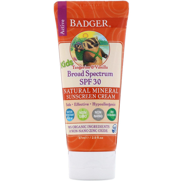 Badger Company, Active Kids, Natural Mineral Sunscreen Cream, SPF 30 PA+++, Tangerine & Vanilla, 2.9 fl oz (87 ml)