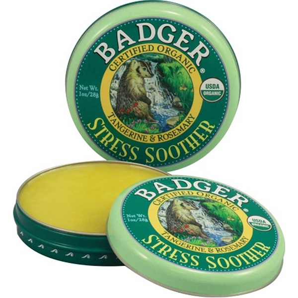 Badger Company, Stress Soother, Tangerine & Rosemary, 1 oz (28 g) (Discontinued Item)