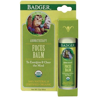 Badger Company, Focus Balm, Grapefruit & Ginger, .60 oz (17 g)