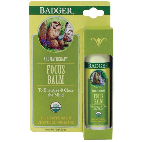 Badger Company, Focus Balm, Grapefruit & Ginger, .60 oz (17 g)