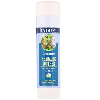 Badger Company, Organic, Headache Soother, Peppermint & Lavender, .60 oz (17 g)