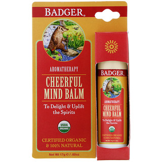 Badger Company, Cheerful Mind Balm, Sweet Orange & Spearmint, .60 oz (17 g)